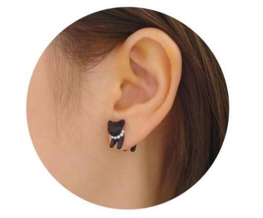 耳環 韓國 飾品 原宿 立體 珍珠 動物 豹子頭 耳環 貓咪 穿刺 耳釘 多層 耳釘 耳飾 可愛