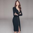 OL洋裝 韓版時尚氣質長袖職業裝 修身性感顯瘦拉鏈式中長款包臀連身裙女 店慶降價