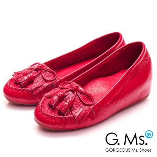 G.Ms. 流蘇蝴蝶結真皮內增高豆豆鞋*蘋果紅