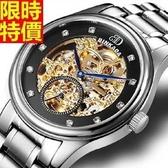 機械錶-自動鏤空歐式雕花精鋼男腕錶2款66ab39【時尚巴黎】
