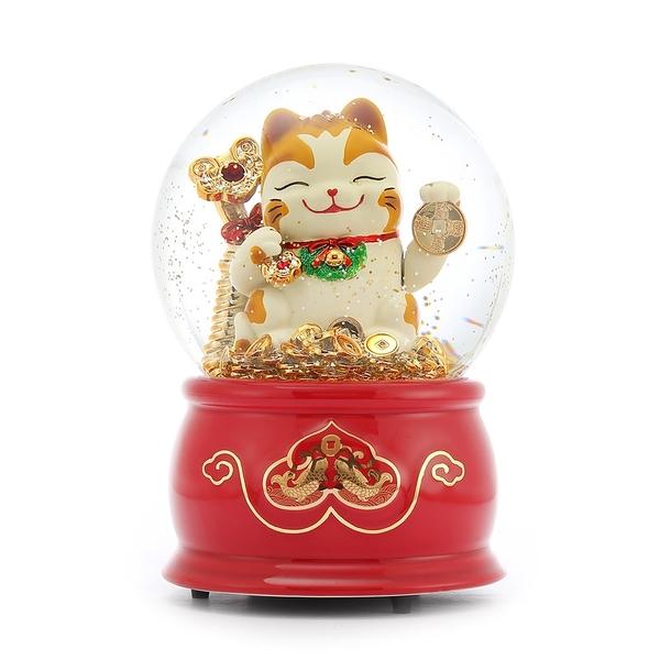 讚爾藝術 JARLL~招財貓 紅色底座 水晶球音樂盒(AO1501)鼠1鼠2 過好年 (現貨+預購)