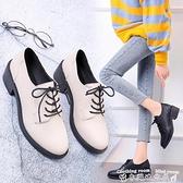 粗跟小皮鞋英倫風小皮鞋女秋季新款百搭粗跟高跟日系jk鞋子學生黑色單鞋  迷你屋 新品