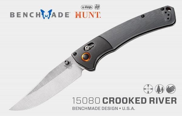 Benchmade 狩獵系列CROOKED RIVER鋁+灰G10柄折刀 -#BENCH 15080-1