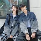 正韓情侶裝高級感秋裝 新款同色系漸變藍ins夾克男女牛仔外套  店慶降價
