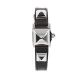 【HERMES】Mini Medor Debrutour銀色鉚釘翻蓋手錶(黑色/駝色) ME 2.110