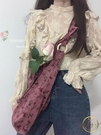 水桶包 復古優雅玫瑰花梅子色燈芯絨單肩斜挎包帆布袋女ins 限時折扣
