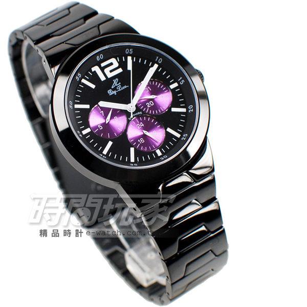 Day Love帝隆 情人對錶 三眼多功能時尚數字錶 IP黑電鍍x紫 真三眼 情侶對錶 DL1128IP紫大+DL1109IP紫中