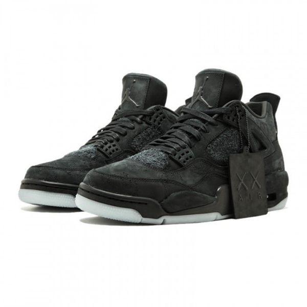 "~[TellCathy]KAWS X Air Jordan 4 ""Black""聯名 黑麂皮 男 930155-001"