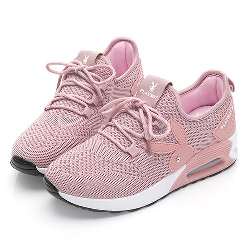 PLAYBOY 舒適主打 針織綁帶氣墊休閒鞋-粉(Y6238)