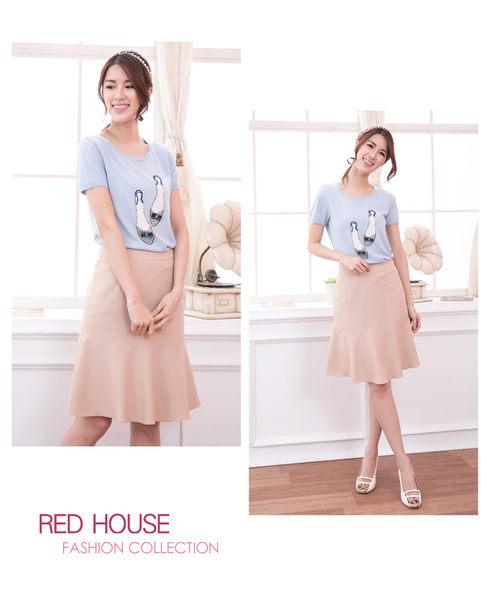 【RED HOUSE-蕾赫斯】珍珠鞋子短袖針織上衣(共二色)