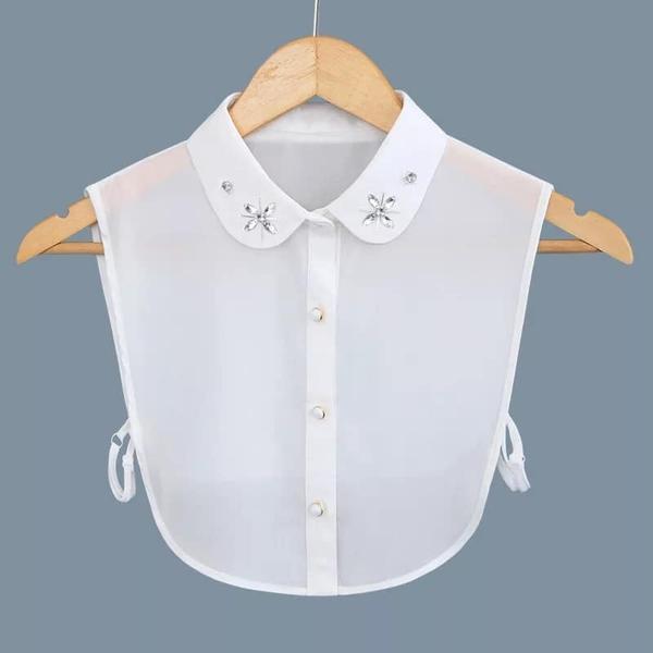假領子假領片 雪紡紗圓領寶石款 罩衫洋裝襯衫針織大學T外套內搭黑色白色[E1429]預購.朵曼堤洋行