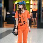 大尺碼套裝 兩件套裝韓版女裝短袖七分褲兩件套大碼運動跑步