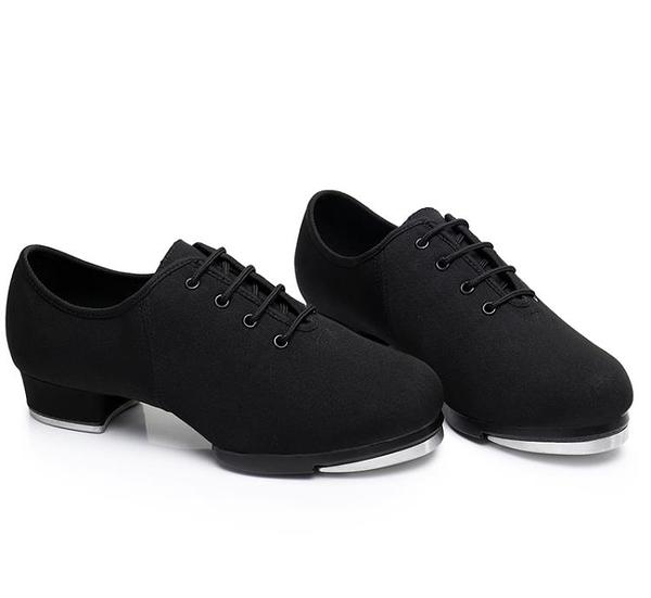 踢踏舞鞋男女兒童少兒款牛津布系帶新品兩點底軟底跳舞鞋 叮噹百貨