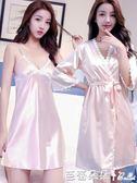 冰絲吊帶睡裙睡袍性感蕾絲花邊絲綢睡衣女兩件套裝短袖『芭蕾朵朵』