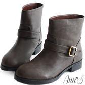 Ann'S率性素面單釦帶小惡魔工程短靴-灰