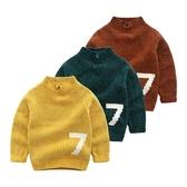 男童毛衣秋冬童裝新款兒童純色粗針線衫女童半高領上衣 萬客居