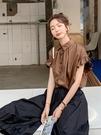 荷葉袖上衣 襯衫設計感輕熟夏裝薄款襯衣雪紡衫小眾洋氣法式氣質短袖上衣女士 交換禮物
