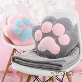 原創可愛貓爪抱枕被子兩用辦公室午睡毯子空調被子靠墊腰靠