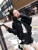 皮衣秋冬新款韓版寬松港風顯瘦PU小皮衣高腰機車皮夾克女裝短外套