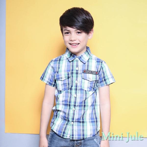 Mini Jule 男童 上衣 雙口袋字母貼布短袖襯衫(綠)