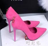 淺口女鞋性感夜店細跟黑色顯瘦超高跟鞋職業OL歐美尖頭女單鞋 盯目家