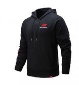 New Balance 男款黑撞色右袖LOGO刷毛連帽外套-NO.AMJ01505BK