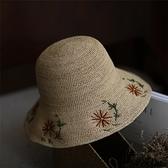 草帽-手工編織漁夫帽清新太陽花女遮陽帽73si3【巴黎精品】