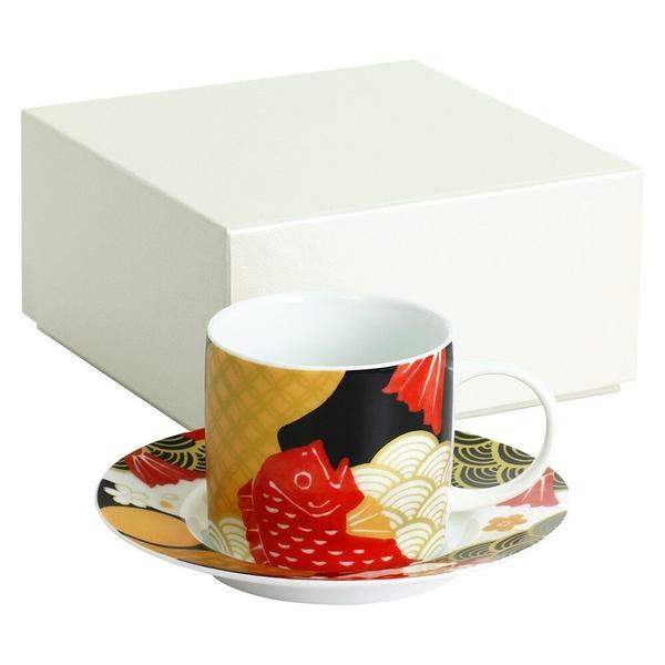 【日本製】 KOTOHOGI 美濃燒 吉祥咖啡杯盤組 鯛魚/富士山圖案(一組:36個) SD-6402-36 -