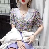 娃娃領上衣 碎花雪紡襯衫女設計感小眾2020夏季新款泡泡袖鎖骨娃娃領短袖上衣