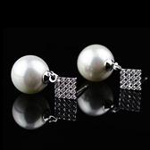 耳環 925純銀 鑲鑽-簡單魔方生日情人節禮物女飾品2色73hz11【時尚巴黎】