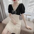 洋裝 V领雪纺拼接裙子短袖连身裙女5570#D217快時尚