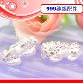 銀鏡DIY S999純銀材料配件/3D硬銀如意吉祥福字招財咬錢貔貅墜/隔珠D款(中款)~適合手作幸運繩
