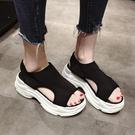涼鞋 運動涼鞋女夏季新款新款正韓ulzzang百搭鬆糕厚底時尚休閒沙灘鞋