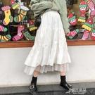 半身長裙 白色半身裙女秋冬長裙新款春秋季高腰顯瘦a字裙超仙的裙子潮 新年特惠