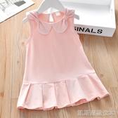 兒童洋裝女童夏季連身裙新款蝴蝶結小女孩純色背心裙百搭兒童寶寶裙子童裝(快出)