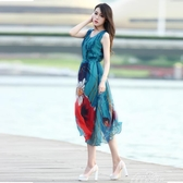 海灘裙女夏海南三亞海邊度假巴厘島雪紡洋裝泰國顯瘦仙『夢娜麗莎』