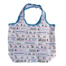 小禮堂 角落生物 折疊尼龍環保購物袋 保冷提袋 環保袋 側背袋 (粉藍 橫紋) 4580433-09003