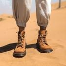 純手工大尺碼真皮女鞋34~45 2020歐美情侶款牛巴戈皮圓頭繫帶中跟馬丁靴 短靴子 ~2色