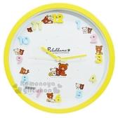 〔小禮堂〕拉拉熊 懶懶熊 連續秒針圓形壁掛鐘《黃白.立體數字》時鐘 4589677-88398