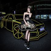 汽車反光貼紙車身裝飾條自行車貼夜光反光膜輪轂【極簡生活館】