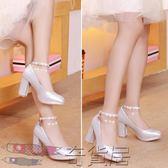 水晶鞋婚鞋女粗跟新娘鞋銀色高跟鞋白色中跟繫帶防水臺婚紗伴娘鞋【奇貨居】