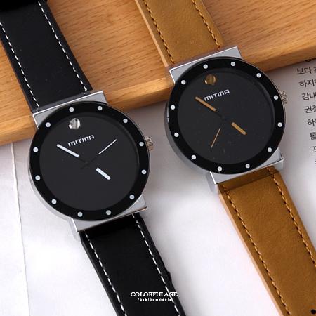 手錶 圓點刻度12點鑽皮革錶 柒彩年代【NE1901】單支價