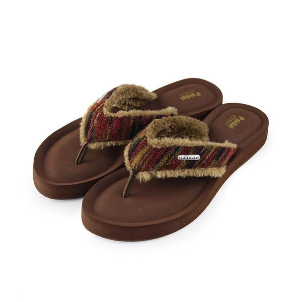 Paidal 民族風寬版膨膨氣墊美型厚底夾腳拖鞋涼鞋-可可棕