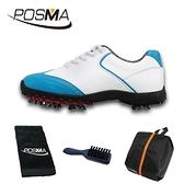 高爾夫球鞋 女款 英倫風 防水超纖皮 防水運動鞋 GSH080WBL