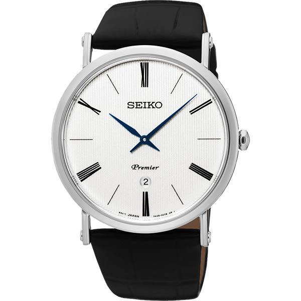 SEIKO 精工 Premier 系列超薄石英錶-銀/40mm 7N39-0CA0P(SKP395J1)