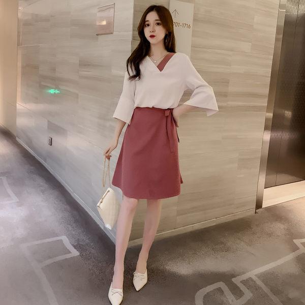 VK旗艦店 韓系V領喇叭袖雪紡上衣半身裙套裝長袖裙裝