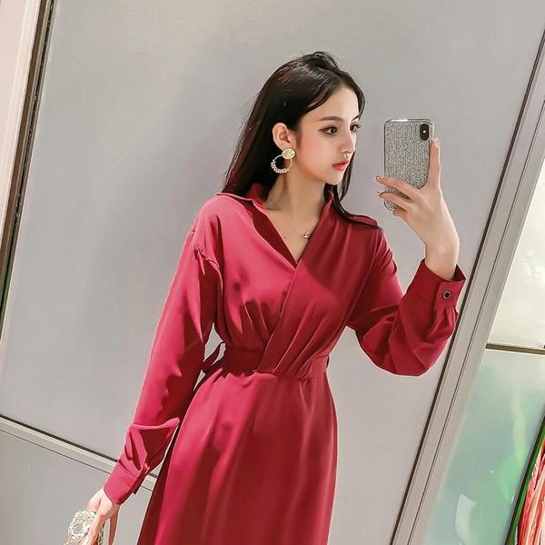 超殺29折 韓國風復古V領收腰顯瘦氣質高腰桔梗長袖洋裝