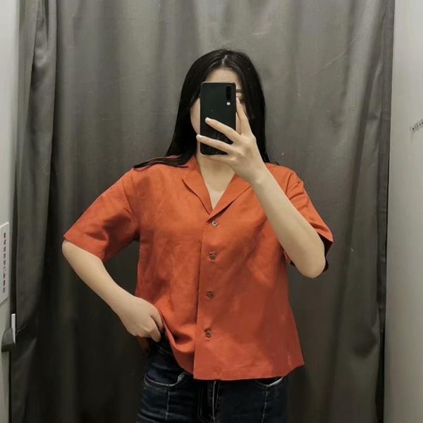 U家試衣間2021夏季女裝麻混紡開領襯衫棉麻短袖倪妮同款潮Y435018