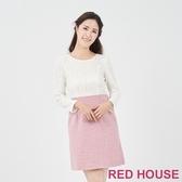 【RED HOUSE 蕾赫斯】蕾絲拼接羊毛洋裝(粉色)