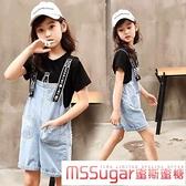 女童牛仔吊帶褲套裝夏季洋氣新款女孩褲子T恤裙子短褲兒童背帶裙 Korea時尚記